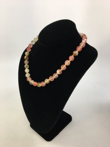 Hand Knotted Faceted Morganite Necklace Strand - 2