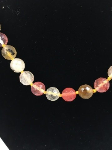 Hand Knotted Faceted Morganite Necklace Strand - 3
