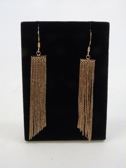 Contemporary Designer Vermeil Fringe Earrings - 3