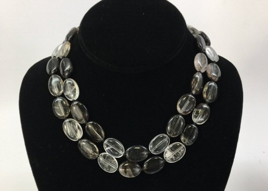 Pair Carved Oval Disc Bead Tourmaline Necklace