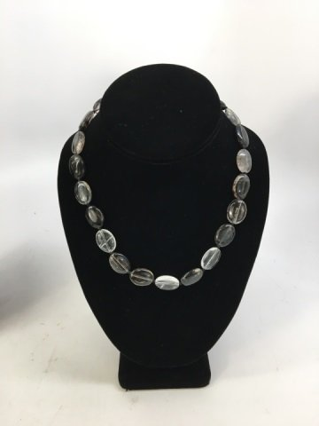 Pair Carved Oval Disc Bead Tourmaline Necklace - 4