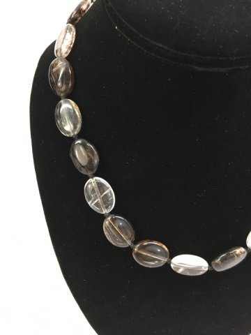 Pair Carved Oval Disc Bead Tourmaline Necklace - 5
