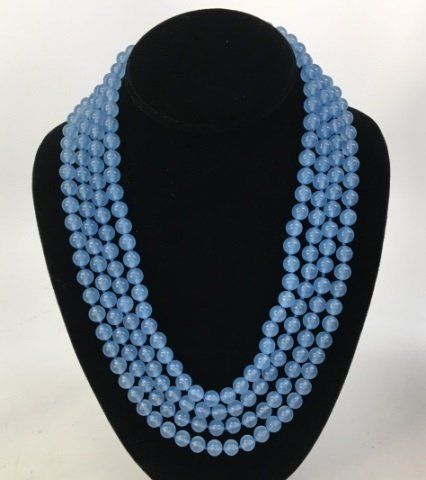 104 Inch Hand Knotted Blue Topaz Necklace Strand