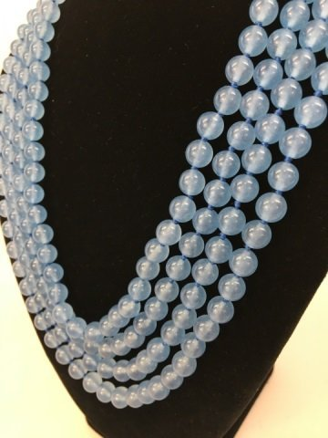 104 Inch Hand Knotted Blue Topaz Necklace Strand - 2