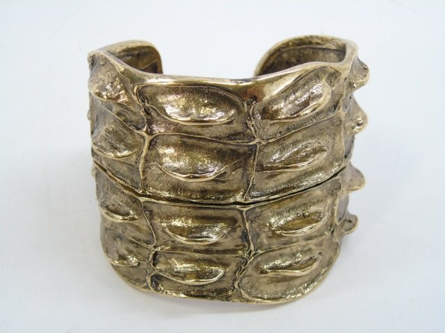 Contemporary Designer Gilt Metal Alligator Cuff - 2