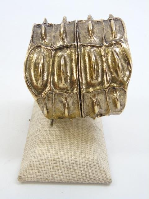 Contemporary Designer Gilt Metal Alligator Cuff - 5