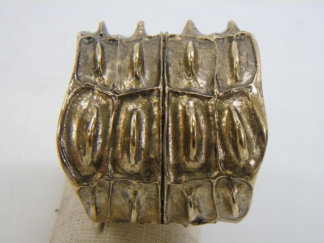 Contemporary Designer Gilt Metal Alligator Cuff - 6