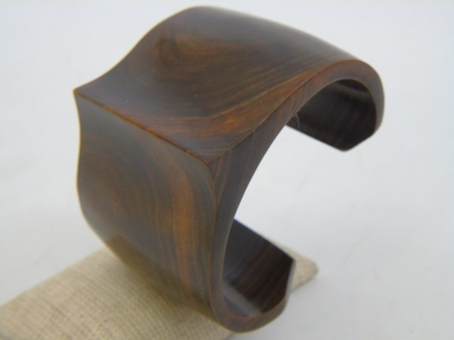 Contemporary Haitian Carved Wood Cuff & Ring - 6