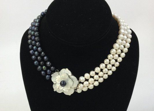 White Black Baroque Pearl Mother of Pearl Necklace