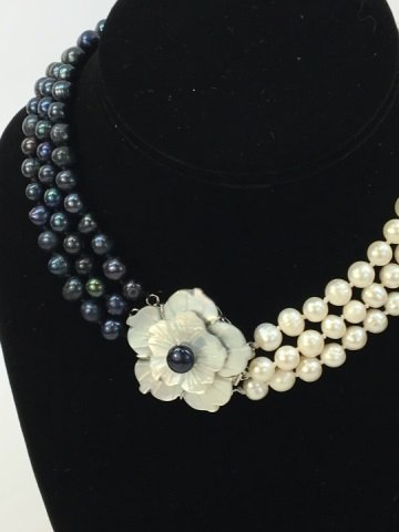 White Black Baroque Pearl Mother of Pearl Necklace - 3