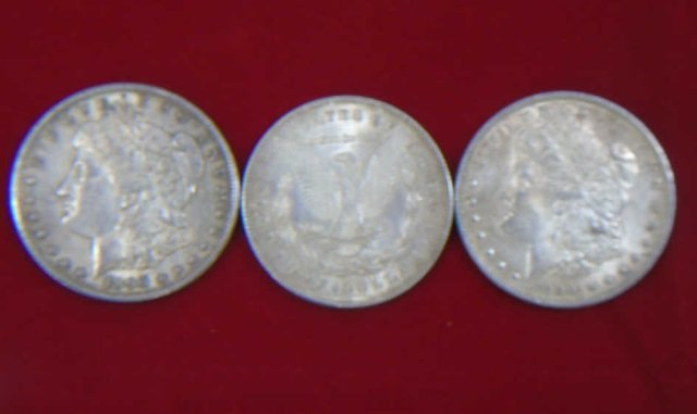 1878, 1890 & 1890 US Silver One Dollar Coins