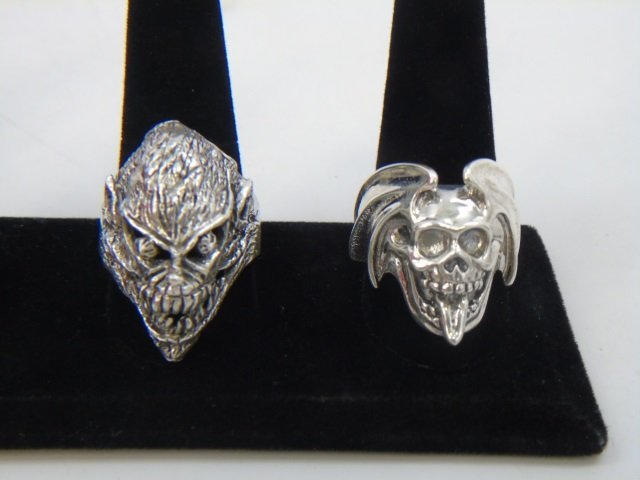 Two Contemporary Sterling Silver Skull Rings