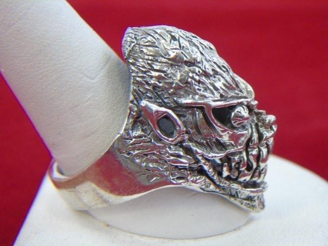 Two Contemporary Sterling Silver Skull Rings - 8