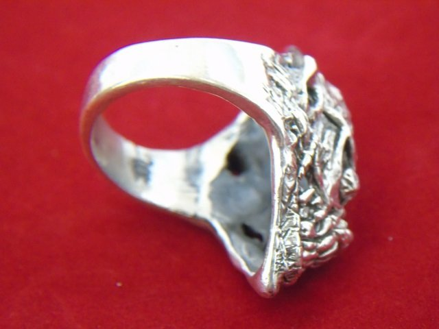 Two Contemporary Sterling Silver Skull Rings - 9
