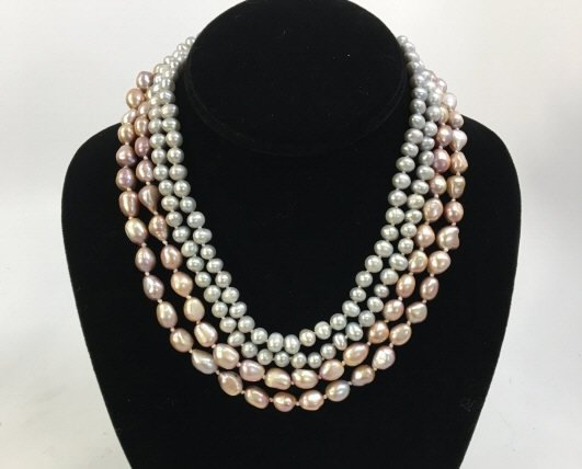 Two Grey & Silver Baroque Pearl Necklace Strands