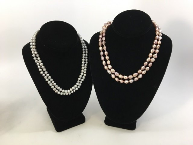 Two Grey & Silver Baroque Pearl Necklace Strands - 3