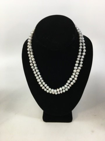 Two Grey & Silver Baroque Pearl Necklace Strands - 5