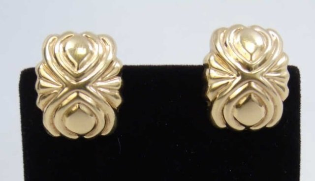 Pair 14k Hollow Yellow Gold Omega Back Earrings