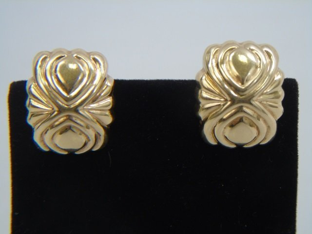 Pair 14k Hollow Yellow Gold Omega Back Earrings - 2