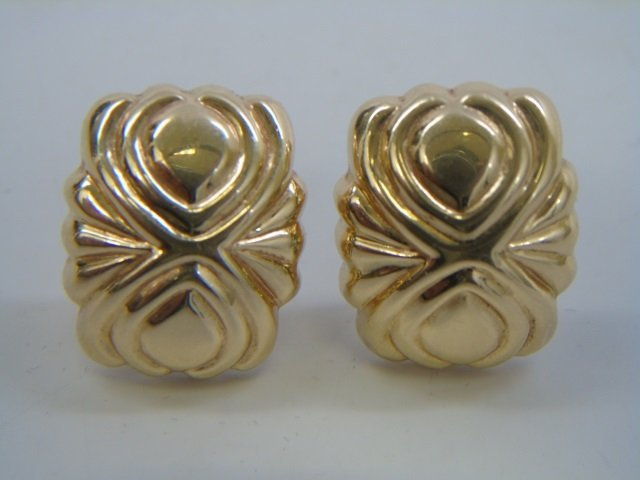 Pair 14k Hollow Yellow Gold Omega Back Earrings - 3
