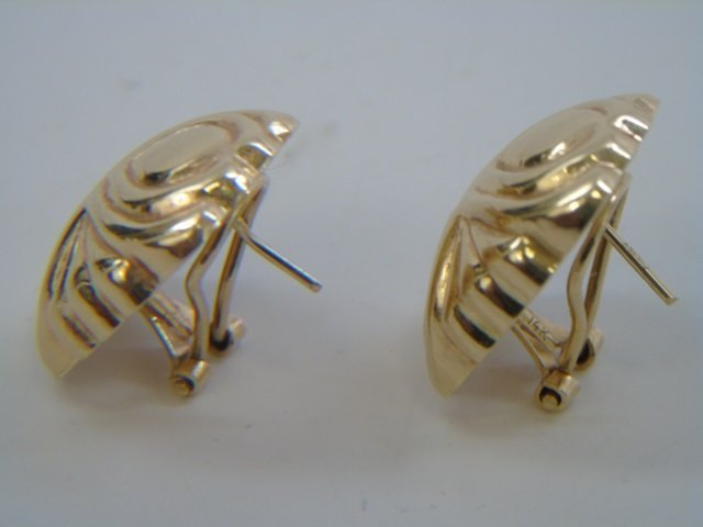 Pair 14k Hollow Yellow Gold Omega Back Earrings - 4