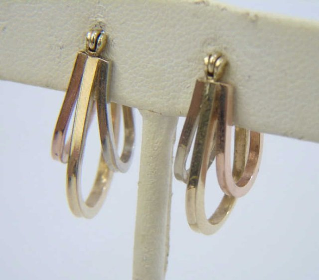 Tri-Color 14k Gold Vintage Hoop Pierced Earrings