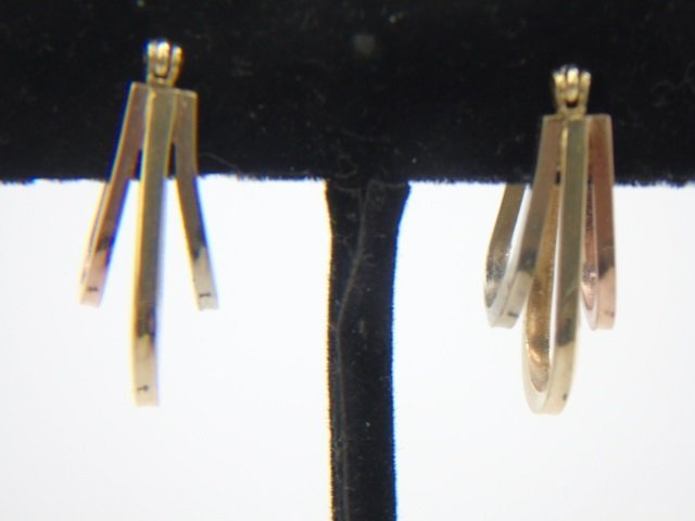 Tri-Color 14k Gold Vintage Hoop Pierced Earrings - 2