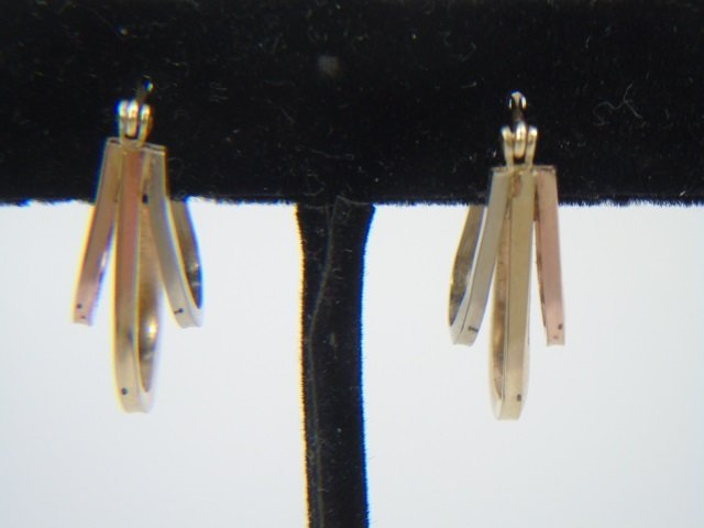 Tri-Color 14k Gold Vintage Hoop Pierced Earrings - 3
