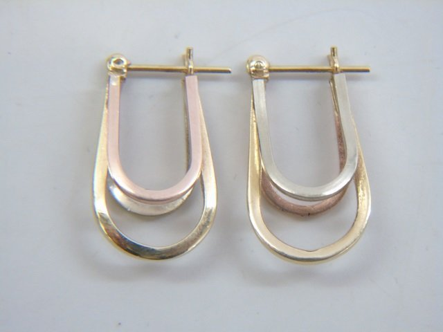 Tri-Color 14k Gold Vintage Hoop Pierced Earrings - 5