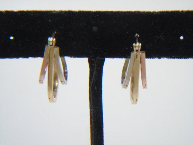 Tri-Color 14k Gold Vintage Hoop Pierced Earrings - 7