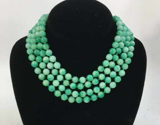 Pair 36 Inch Hand Knotted Jade Necklace Strands