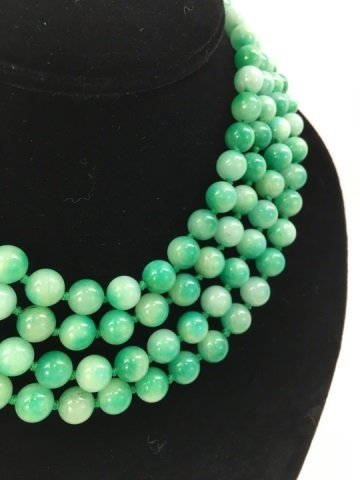 Pair 36 Inch Hand Knotted Jade Necklace Strands - 2