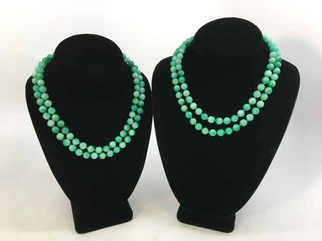 Pair 36 Inch Hand Knotted Jade Necklace Strands - 3