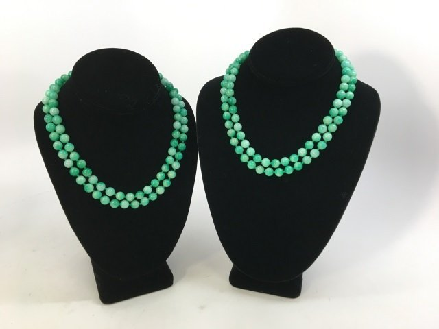 Pair 36 Inch Hand Knotted Jade Necklace Strands - 4