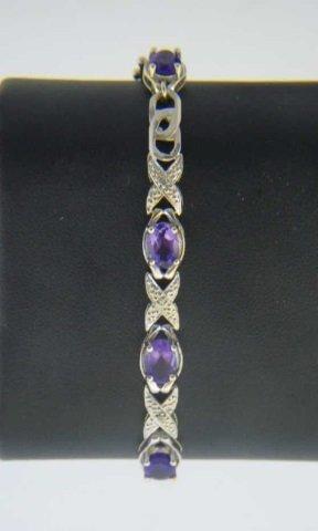 Diamond & Amethyst & White Gold Bracelet