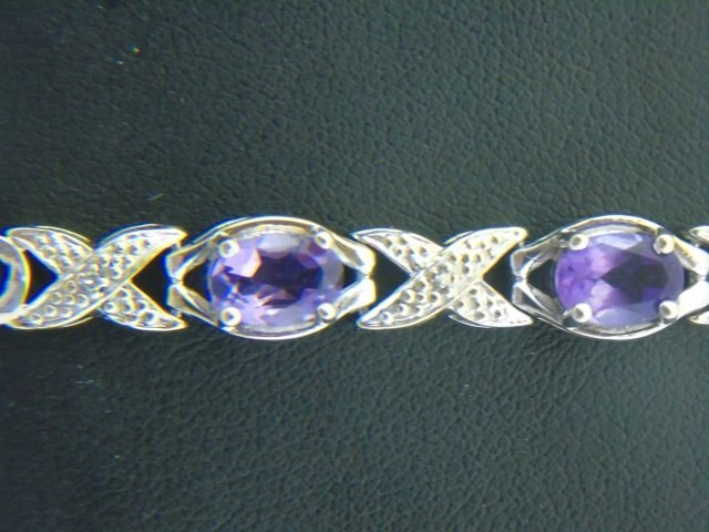 Diamond & Amethyst & White Gold Bracelet - 3