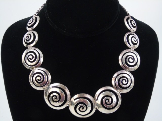 Contemporary Sterling Silver Spiral Motif Necklace