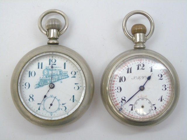 Two Antique Men's Train Motif Pocket Watches