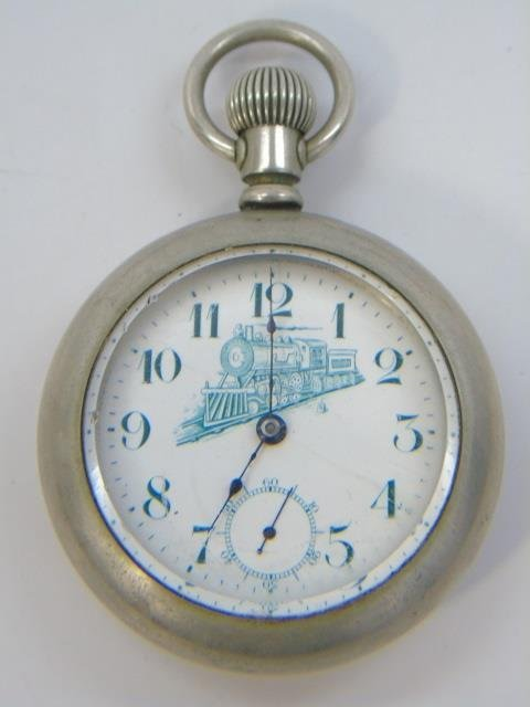 Two Antique Men's Train Motif Pocket Watches - 2