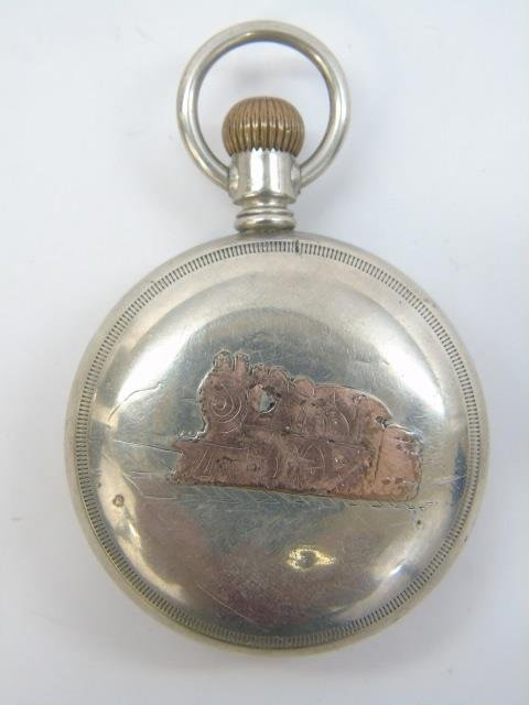 Two Antique Men's Train Motif Pocket Watches - 6