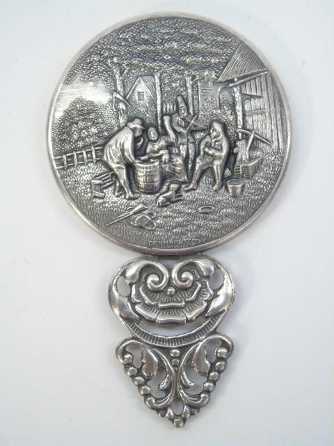 Vintage Danish Silver Repousse Hand Mirror