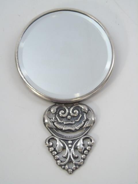 Vintage Danish Silver Repousse Hand Mirror - 2