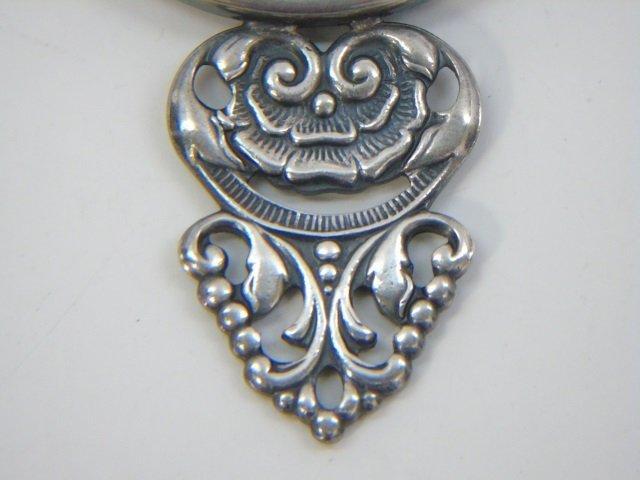 Vintage Danish Silver Repousse Hand Mirror - 3