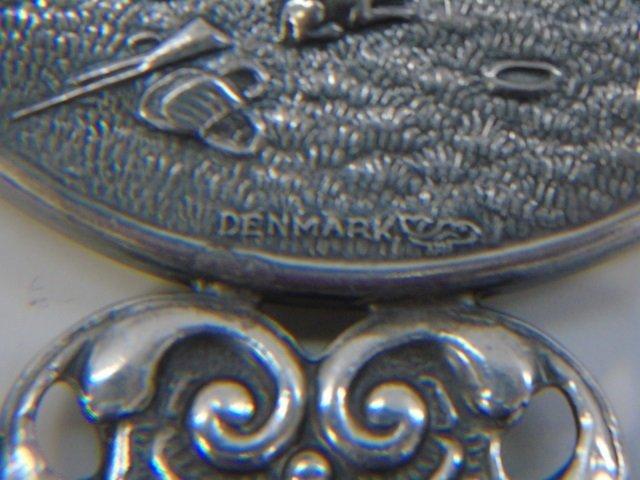 Vintage Danish Silver Repousse Hand Mirror - 4