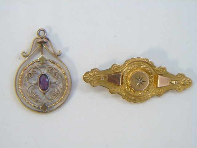 Two Antique Victorian Gold - Pendant & Brooch