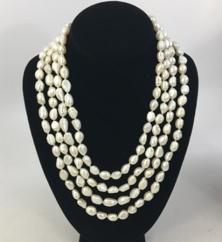 Pair 50 Inch White Baroque Pearl Necklace Strands
