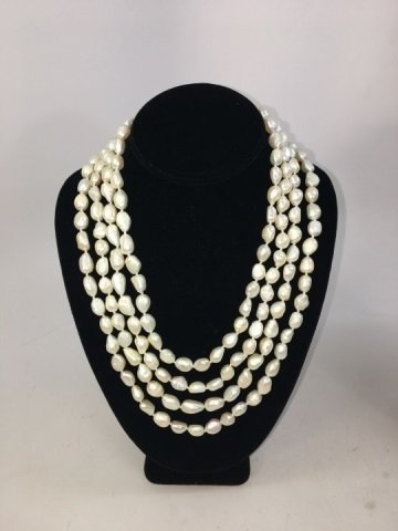 Pair 50 Inch White Baroque Pearl Necklace Strands - 2