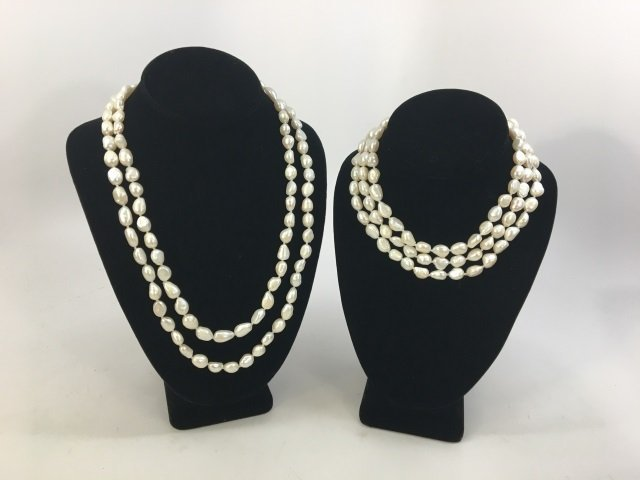 Pair 50 Inch White Baroque Pearl Necklace Strands - 3
