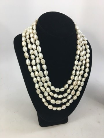 Pair 50 Inch White Baroque Pearl Necklace Strands - 4