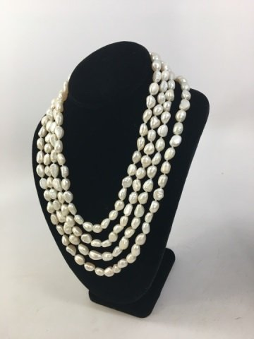 Pair 50 Inch White Baroque Pearl Necklace Strands - 5